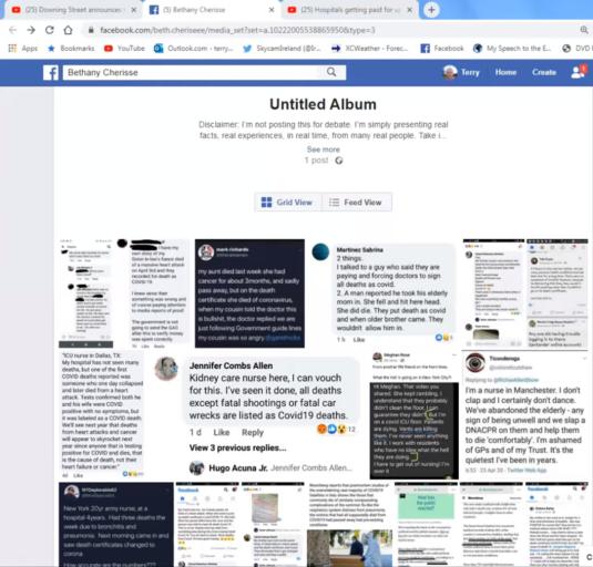 Facebook page of false CoDs 1